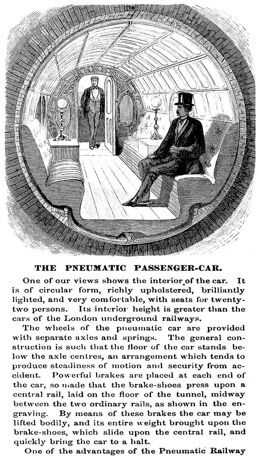this 1870 pneumatic passenger car existed in New York, illustration with text