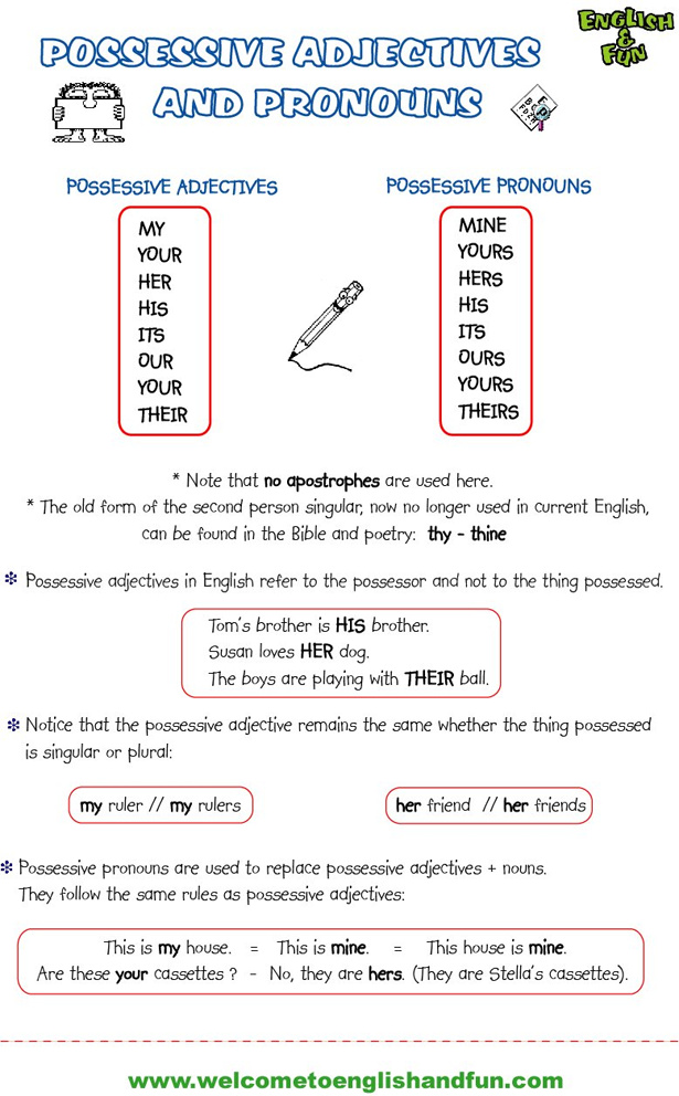 Carmen 39 S Blog Possessive Adjectives Comparative
