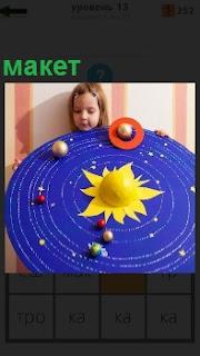 Девочка в руках держит макет вселенной, на котором планеты, звезды, солнце расположены