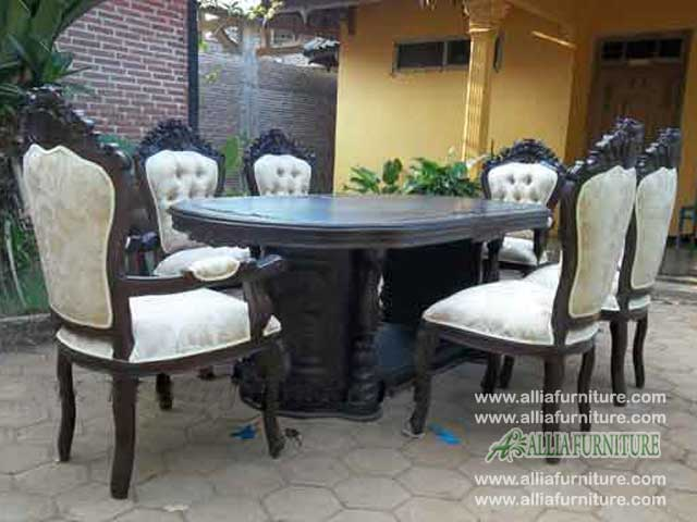 meja kursi makan set ukiran ganesha pandawa