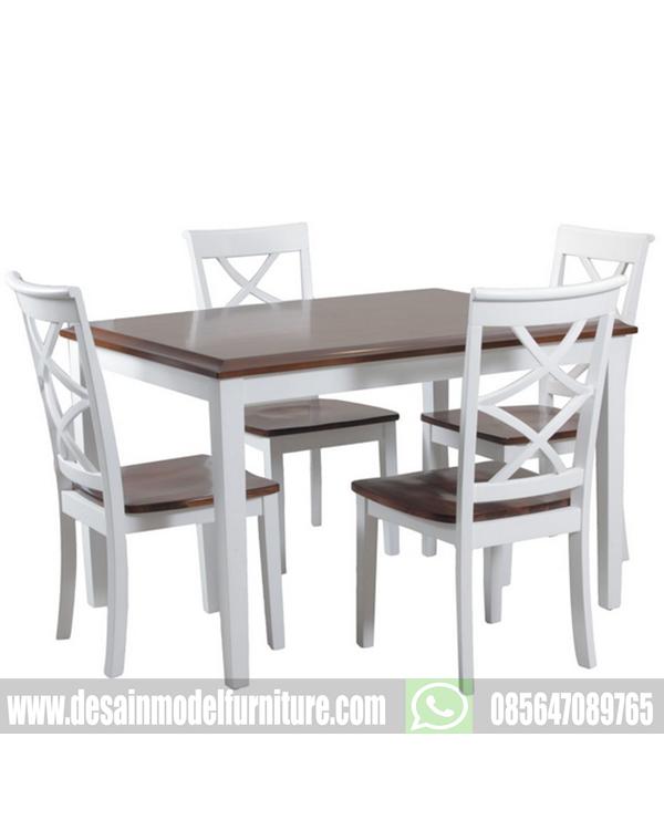 Meja makan minimalis duco putih kombinasi finishing natural