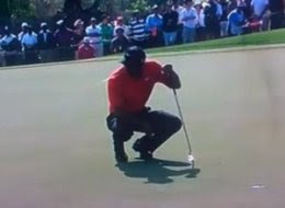 Tiger Woods spitting on the green