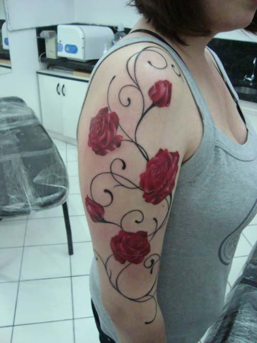 half sleeve rose tattoo yarım kol gül dövmesi