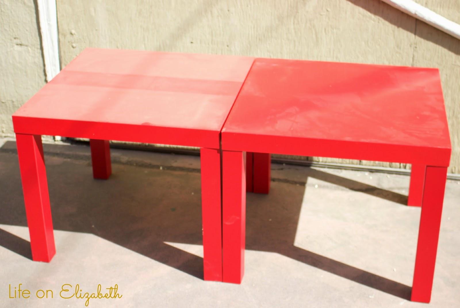 Life on elizabeth diy tufted foot stool with ikea lack side table - Ikea table lack ...