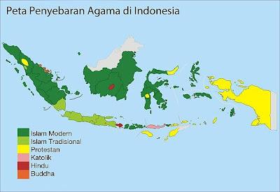 Peta penyebaran agama di Indonesia.