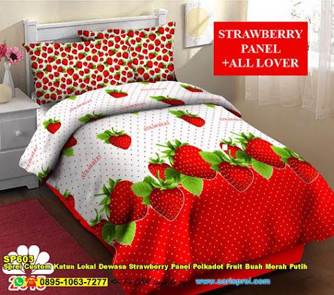 Sprei Custom Katun Lokal Dewasa Strawberry Panel Polkadot Fruit Buah Merah Putih