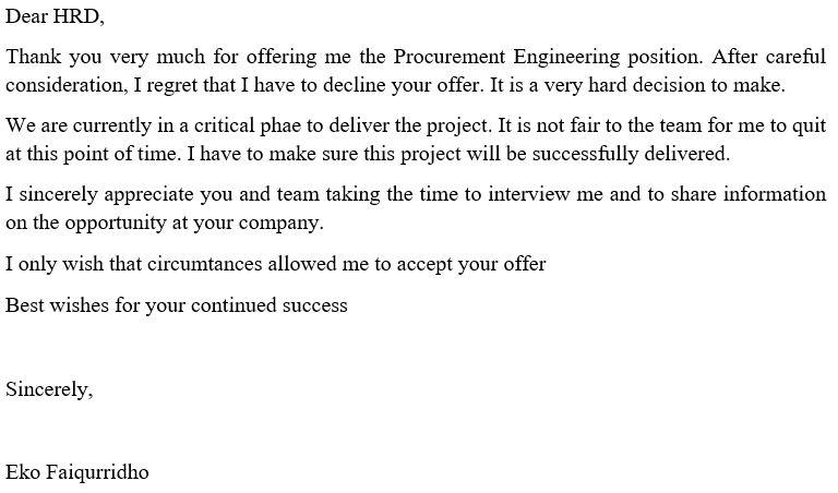 Contoh Email Menolak Tawaran Kerja Bahasa Inggris Contoh O