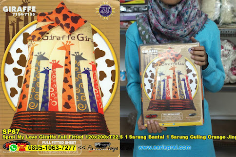 Sprei My Love Giraffe Full Fitted 120x200xT22,5 1 Sarung Bantal 1 Sarung Guling Orange Jingga Krem Cream Binatang Kartun Anak Remaja