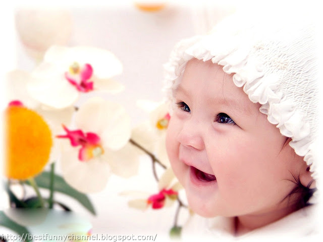Cute laughing baby.