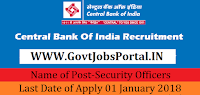 Central Bank of India Recruitment 2018 – Security Officers