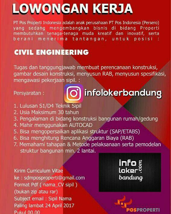 Lowongan Kerja PT. Pos Properti Bandung April 2017