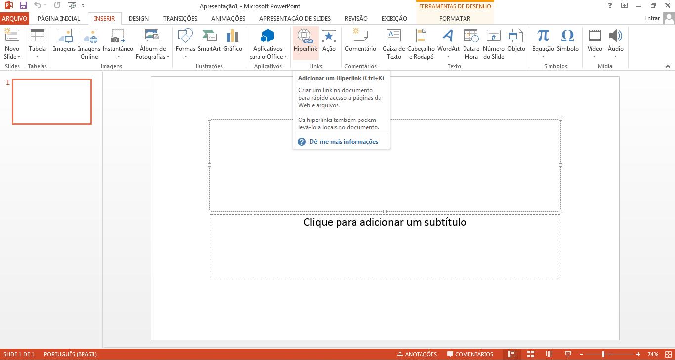 Botão inserir hiperlink no Microsoft PowerPoint