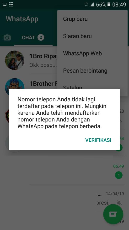 Tidak bisa membuka 1 akun WhatsApp di 2 hp sekaligus