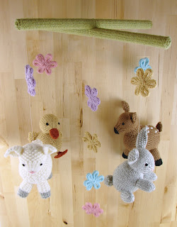springtime, baby, mobile, bunny, rabbit, flower, fawn, sheep, lamb, duck, duckling, knitted, toys