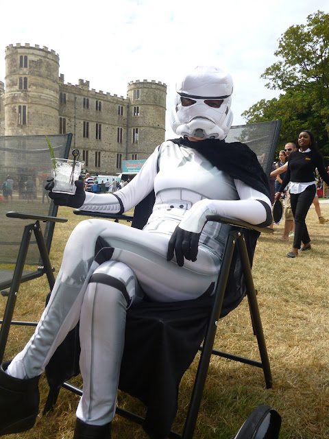 stormtrooper drinking gin by a castle