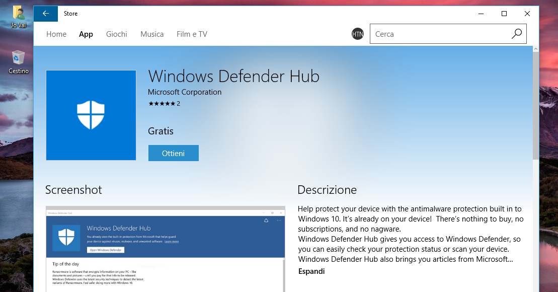 App Windows Defender Hub disponibile per Windows 10 e Windows 10 Mobile | Download