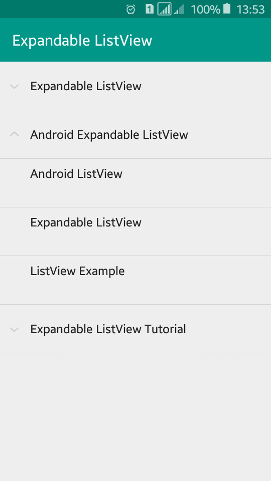 ExpandableListView With Example In Android Studio