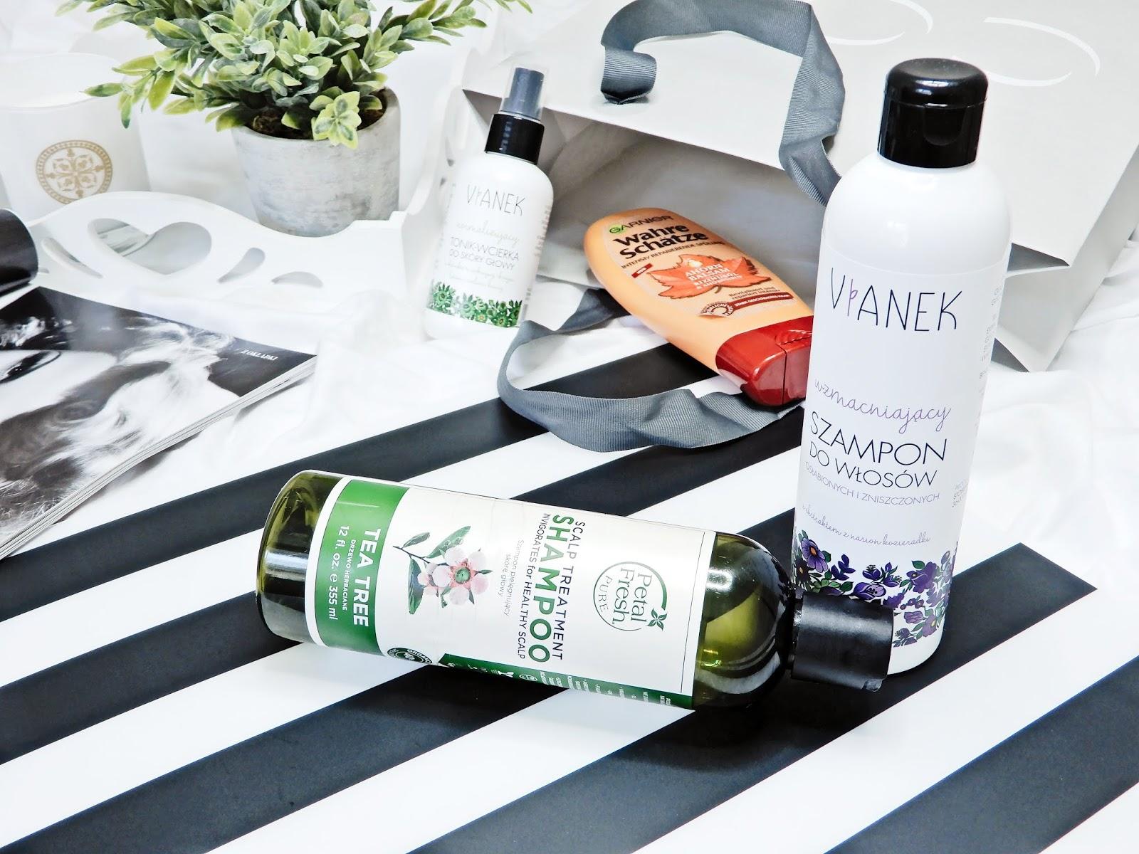 Vianek Normalizujący tonik-wcierka do skóry głowy, Garnier Wahre Schätze Intensiv-Spülung Ahorn Balsam, Vianek wzmacniający szampon do włosów, Petal Fresh Szampon antyseptyczny do włosów z olejkiem z drzewa herbacianego,