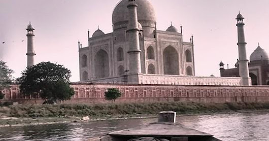 The Taj Mahal from a boat