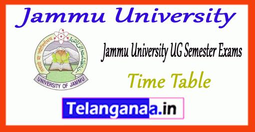 Jammu University BA B.Sc B.Com Degree 1st 3rd 5th Semester Time Table