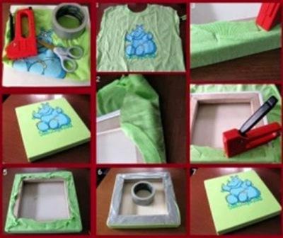 Manfaatkan t-shirt atau kaos bekas untuk membuat hiasan dinding.