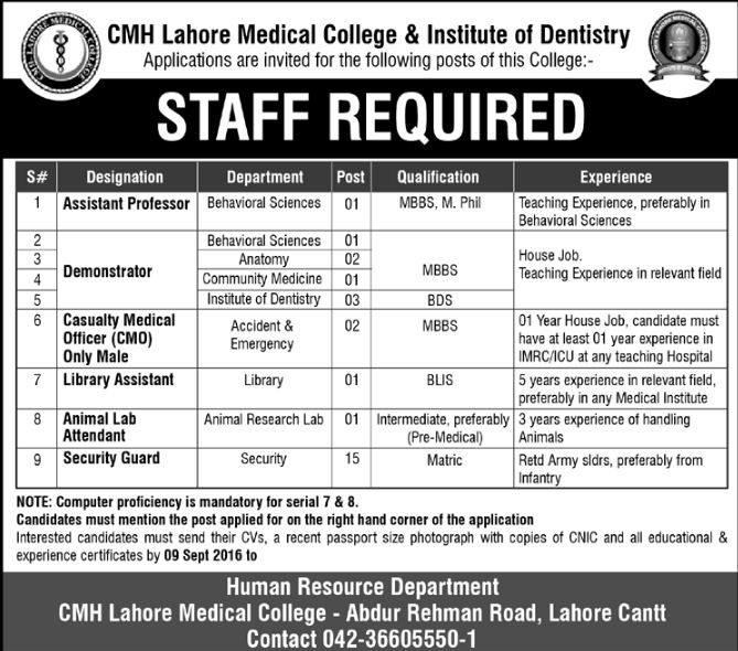 Army Jobs, GOVT JOBS, Lahore, Punjab, Staff Required at CMH Lahore Medical College & Institute of Dentistry,
