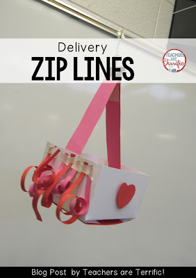 STEM Challenge for Valentine's Day! It's a delivery zip line that takes a present down the line! Check this blog post for more!