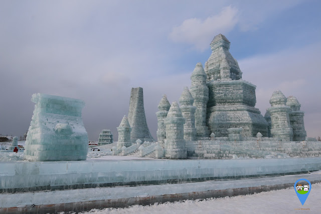 It is very freezing as the temperature can go to the lowest negative 30C at Harbin Ice Sculpture Exhibition in Heilongjiang, China