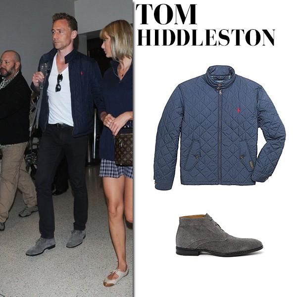 Tom Hiddleston in blue quilted jacket ralph lauren, black jeans and grey boots aquatalia mens fashion