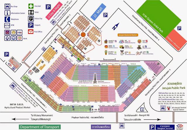 Mapa del Mercado de Fin de Semana Chatuchak en Bangkok