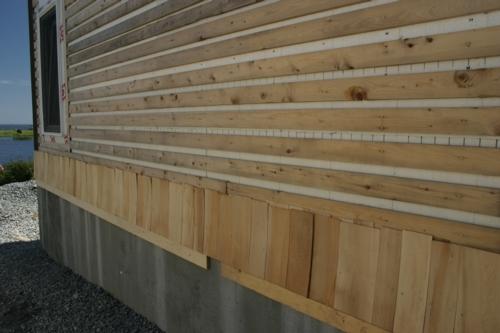 First row of freshly cut eastern  cedar shake from New Brunswick