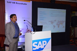 Rudra Shankar Shatapathy, Group MD, CEO and Co-founder at In2IT Technologies--addressing the gathering at SAP HR Roundtable