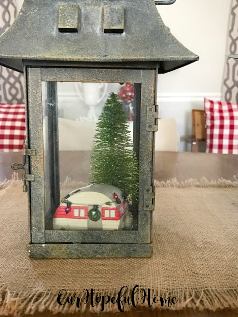 farmhouse Christmas decor dining room lantern retro camper