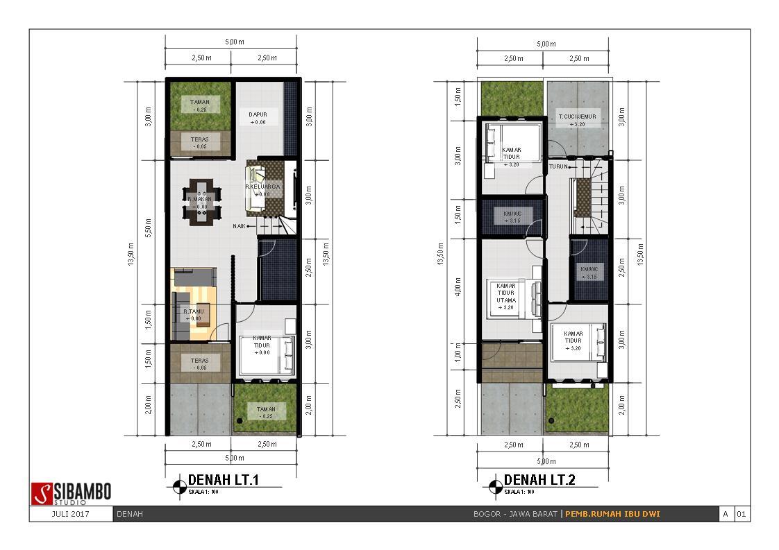 desain rumah minimalis dua lantai di lahan 5 x 13 5m yang simpel dan elegan sibambo. Black Bedroom Furniture Sets. Home Design Ideas