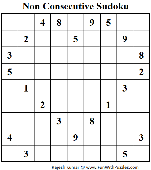 Non Consecutive Sudoku (Fun With Sudoku #77)