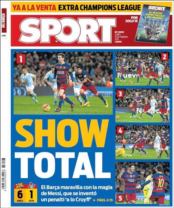 Portada del periódico Sport, lunes 15 de febrero de 2016