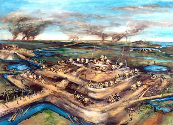Reconstituição artística de cidades amuralhadas na região amazônica descobertas por arqueólogos e descritas por missionários. A decadência moral e cultural jogou as tribos a miseráveis malocas.