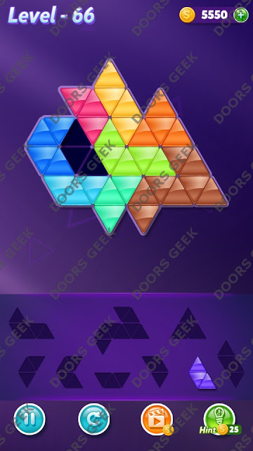 Block! Triangle Puzzle Proficient Level 66 Solution, Cheats, Walkthrough for Android, iPhone, iPad and iPod