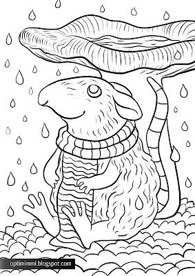 A coloring page of a mouse and a mushroom in the rain / Värityskuva hiirestä ja sienestä sateessa