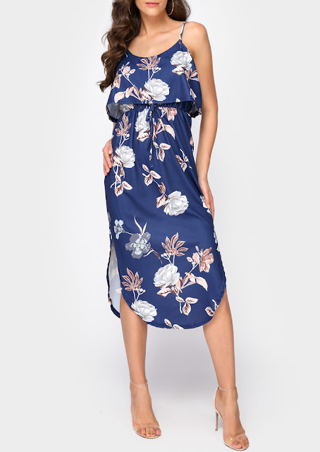 Floral Layered Slit Maxi Dress