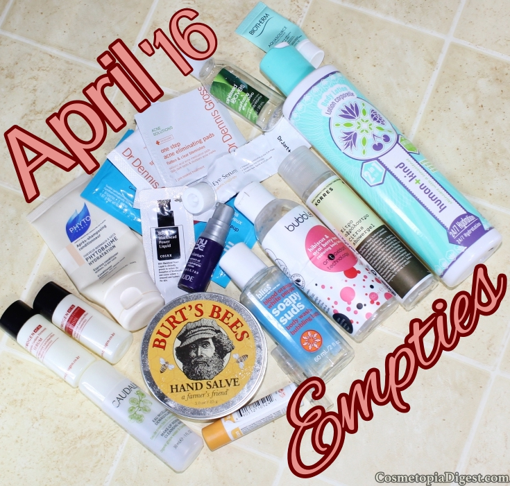 Here are the beauty products I emptied in April 2016 and my quick thoughts on each.