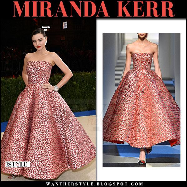 Miranda Kerr in red floral strapless dress oscar de la renta red carpet at Meg Gala 2017 what she wore