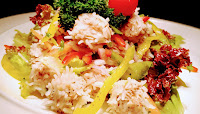 Chicken rice flower with slice onions and Bell pepper Lettuce parsley cherry tomato Food Recipe