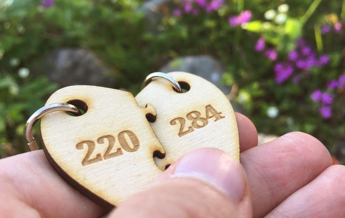 Kaksi puolisydämen muotoista avaimenperää, joihin on kaiverrettu luvut 220 ja 284.