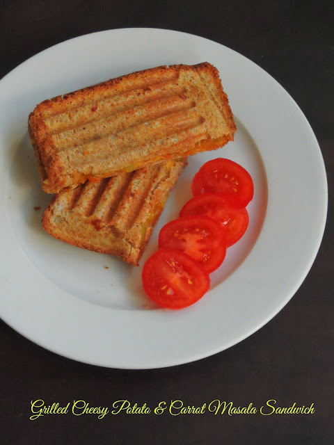 Grilled Cheesy Potato & Carrot Masala Sandwich