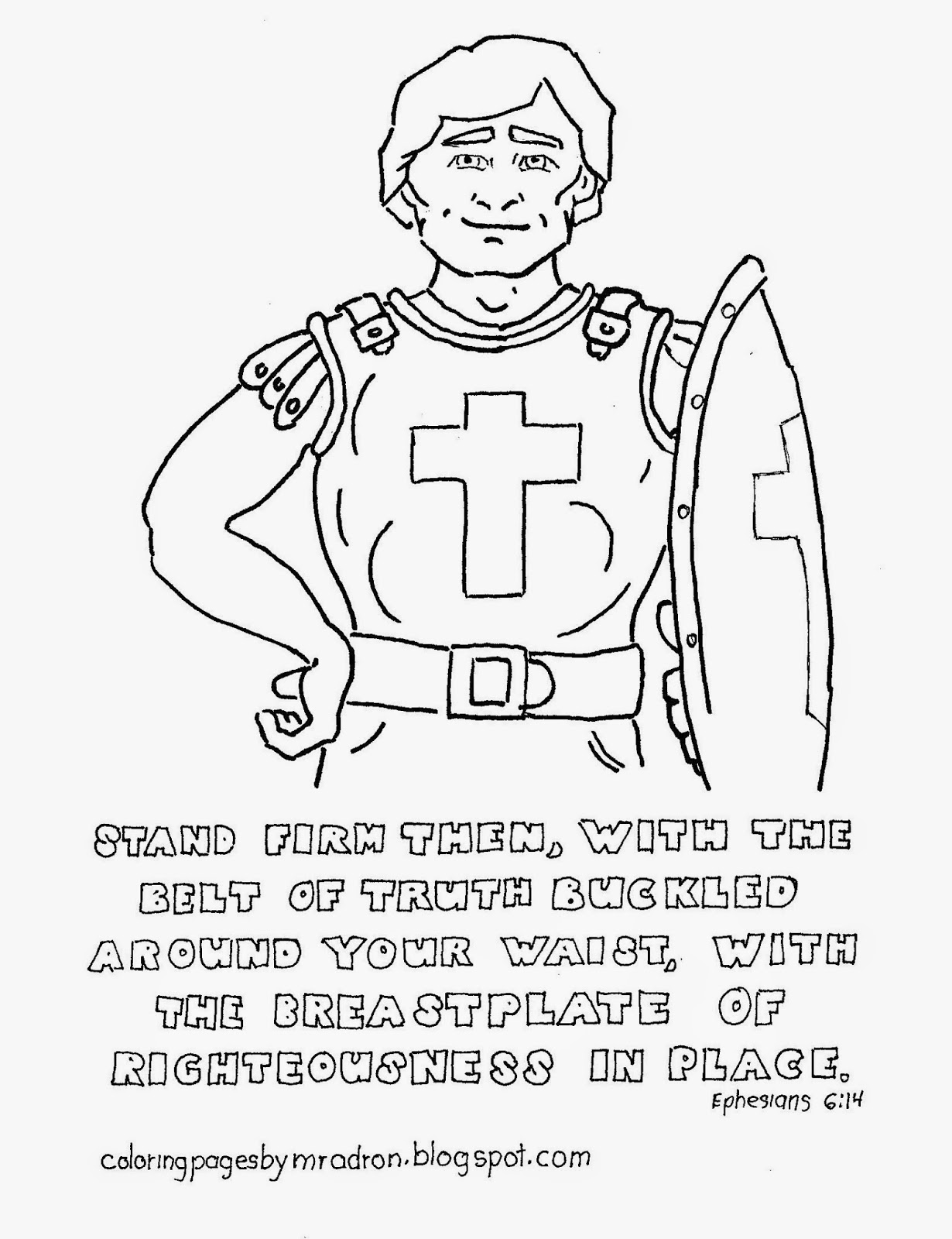 Coloring Pages For Kids By Mr Adron Breastplate Of Righteousness Free Coloring Page