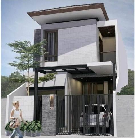 Bentuk Depan Rumah 2 Lantai Desain Minimalis Modern