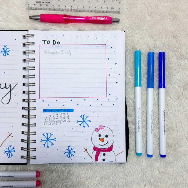 January 2019 Bullet Journal Calendar and To Do List