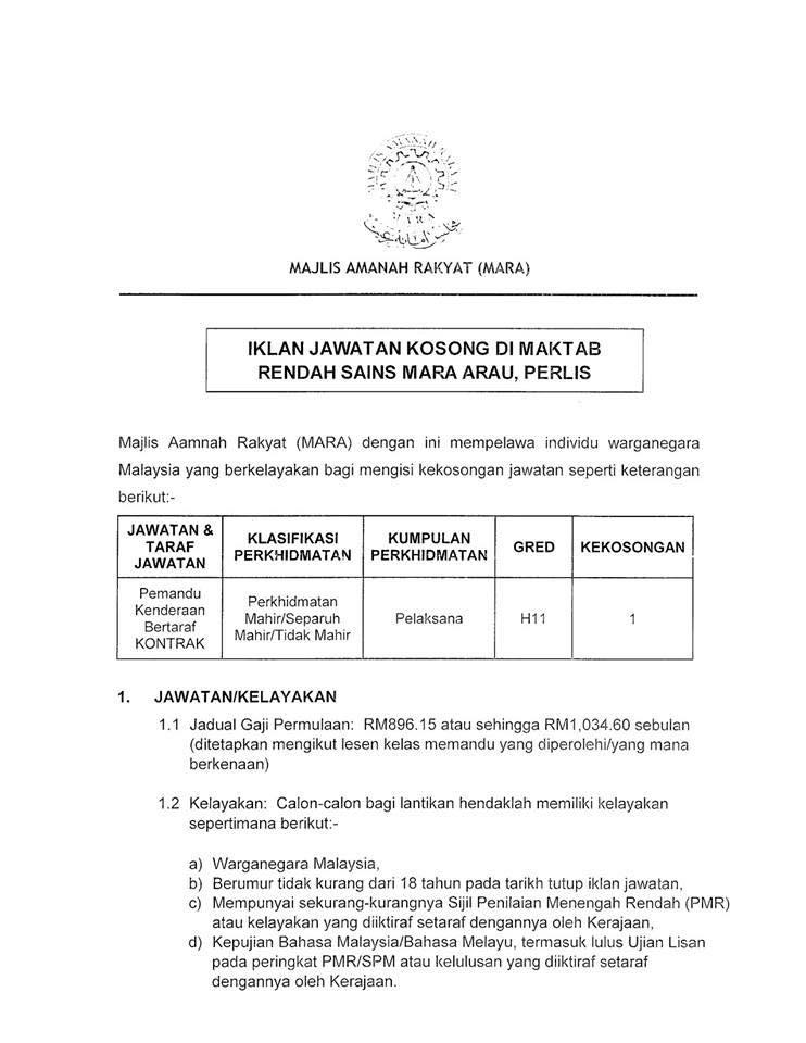 Jawatan Kosong di Maktab Rendah Sains Mara (MRSM) - 24 Mac ...