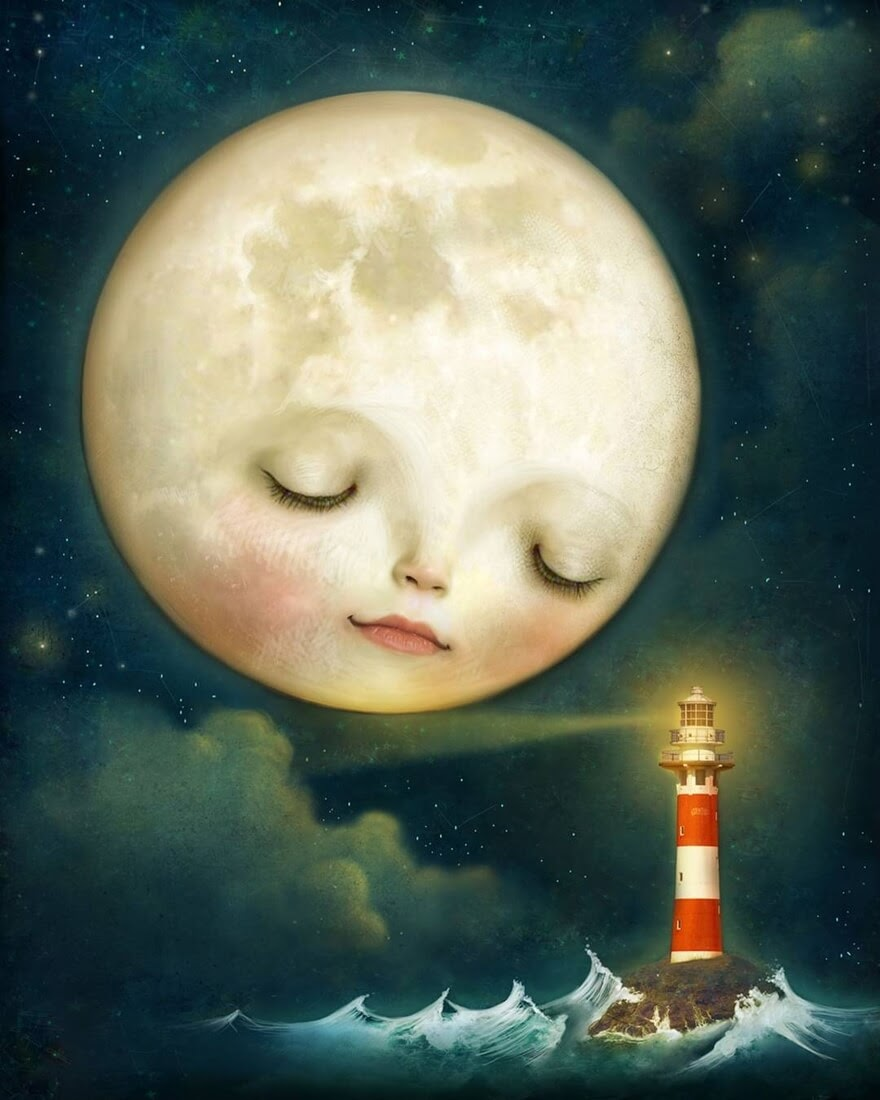 05-The-moon-and-the-lighthouse-Lisa-Falzon-Fantasy-Digital-Art-with-a-Sprinkle-of-Surrealism-www-designstack-co